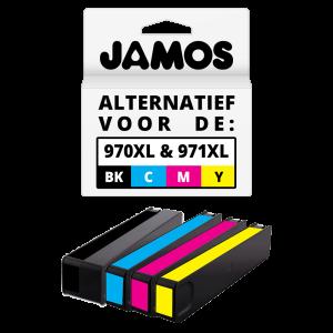 JAMOS Inktcartridge Alternatief voor de HP 970XL Zwart & 971XL Kleuren Voordeelset