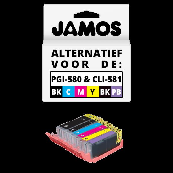 JAMOS Inktcartridges Alternatief voor de Canon PGI-580PGBK & CLI-581BKCMYPB XXL Voordeelset