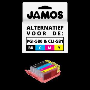 JAMOS Inktcartridges Alternatief voor de Canon PGI-580PGBK & CLI-581CMY XXL Voordeelset