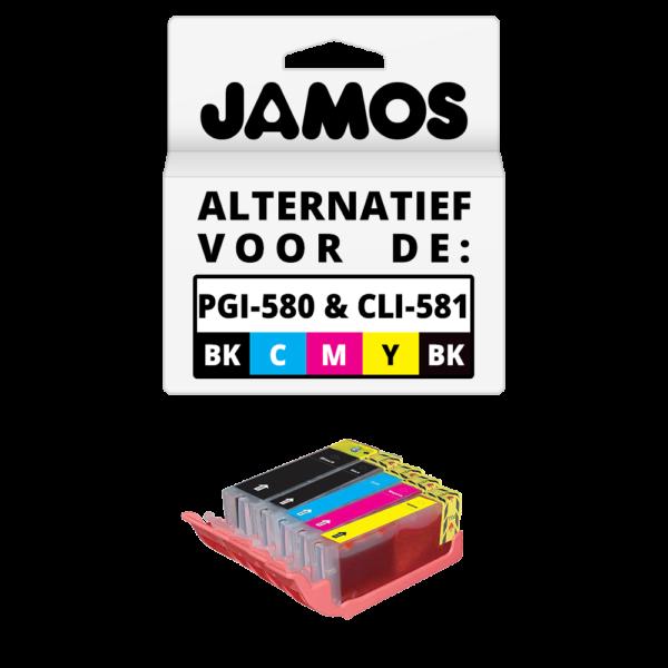 JAMOS Inktcartridges Alternatief voor de Canon PGI-580PGBK & CLI-581BKCMY XXL Voordeelset