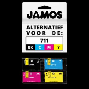 JAMOS Inktcartridge Alternatief voor de HP 711 Zwart & Kleuren Voordeelset