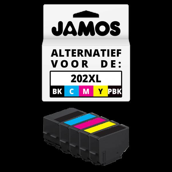 Jamos Inktcartridge Alternatief voor de Epson 202XL Zwar & Kleuren Voordeelset