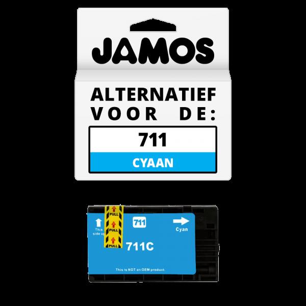 JAMOS Inktcartridge Alternatief voor de HP 711 Cyaan