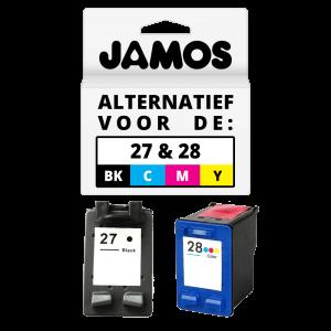JAMOS Inktcartridge Alternatief voor de HP 27 & 28 Zwart & Kleuren Voordeelset