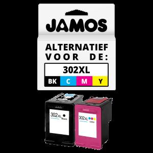JAMOS Inktcartridge Alternatief voor de HP 302XL Zwart & Kleuren Voordeelset