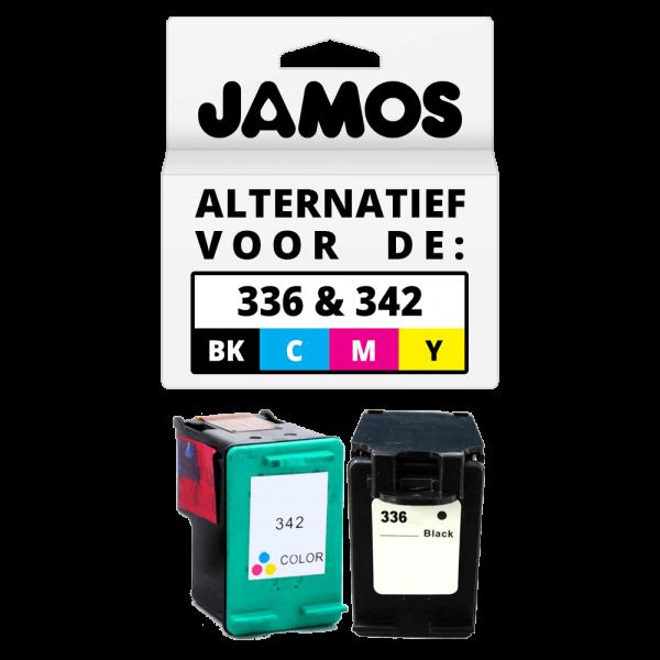 JAMOS Inktcartridge Alternatief voor de HP 336 & 342 Zwart & Kleur Voordeelset