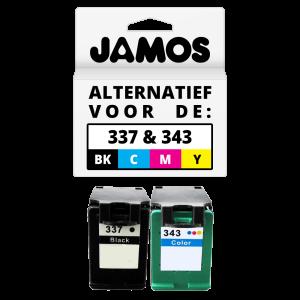 JAMOS Inktcartridge Alternatief voor de HP 337 & 343 Zwart & Kleuren Voordeelset