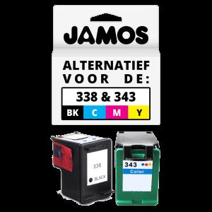 JAMOS Inktcartridge Alternatief voor de HP 338 & 343 Zwart & Kleuren Voordeelset