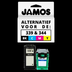 JAMOS Inktcartridge Alternatief voor de HP 339 & 344 Zwart & Kleur Voordeelset