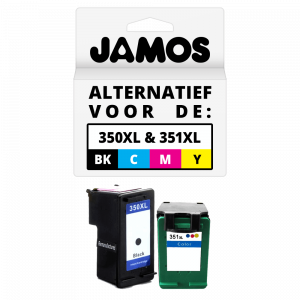 JAMOS Inktcartridge Alternatief voor de HP 350XL & 351XL Zwart & Kleur Voordeelset