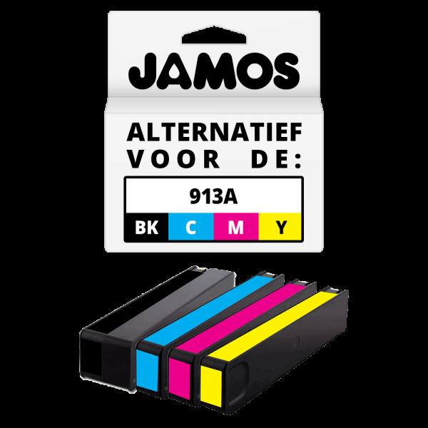 JAMOS Inktcartridge Alternatief voor de HP 913A Zwart & Kleuren Voordeelset