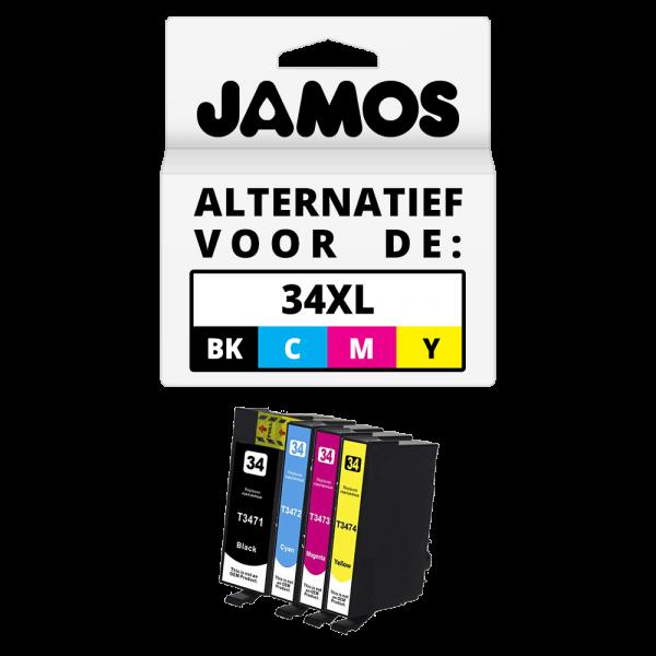 JAMOS Inktcartridge Alternatief voor de Epson 34XL Zwart & Kleuren Voordeelset