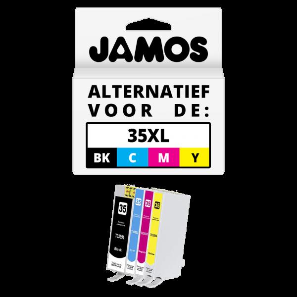 JAMOS Inktcartridge Alternatief voor de Epson 35XL Zwart & Kleuren Voordeelset