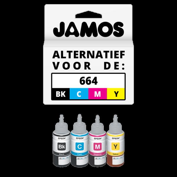 JAMOS Inktfles Alternatief voor de Epson 664 Voordeelset